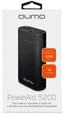 Внешний аккумулятор Power Bank 5200 мАч QUMO PowerAid черный 22064 внешний аккумулятор qumo poweraid 10400 мач черный