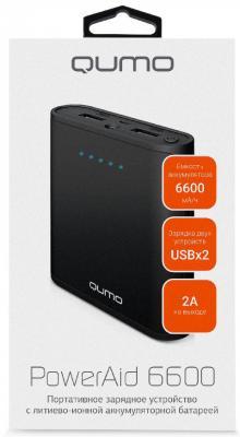Внешний аккумулятор Power Bank 6600 мАч QUMO PowerAid черный 21096 внешний аккумулятор qumo poweraid 10400 мач черный