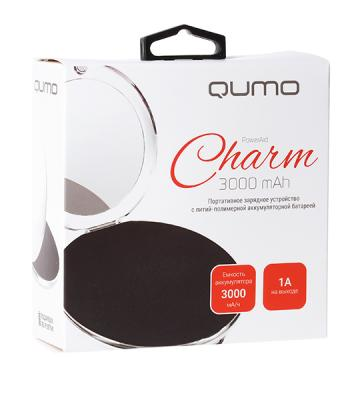 Внешний аккумулятор Power Bank 3000 мАч QUMO PowerAid Charm серебристый 21657 внешний аккумулятор qumo poweraid 10400 мач черный