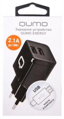 Сетевое зарядное устройство QUMO Energy microUSB 2.1A черный автомобильное зарядное устройство qumo auto energy microusb 2а 1а черный 20734
