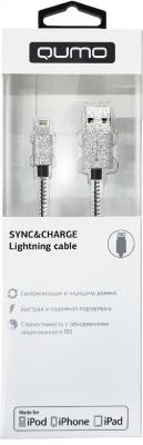 Кабель Lightning 1м QUMO MFI С48 круглый серебристый 21712 qumo lightning usb mfi rose gold кабель 1 м
