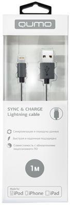 Кабель Lightning 1м QUMO 21714 круглый темно-серый кабель lightning 1м wiiix круглый cb120 u8 10b