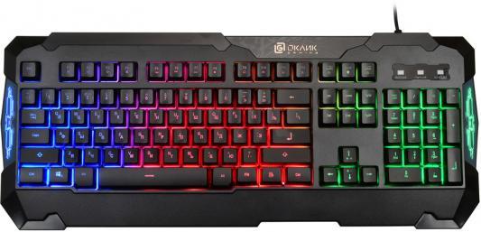 Клавиатура Oklick 721G черный USB Multimedia LED oklick клавиатура oklick 350m черный usb multimedia