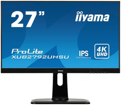 "Монитор 27"" iiYama XUB2792UHSU-B1 черный IPS 3840x2160 300 cd/m^2 4 ms DVI HDMI DisplayPort Аудио USB iiyama gb2488hsu b2 24 черный dvi hdmi full hd"
