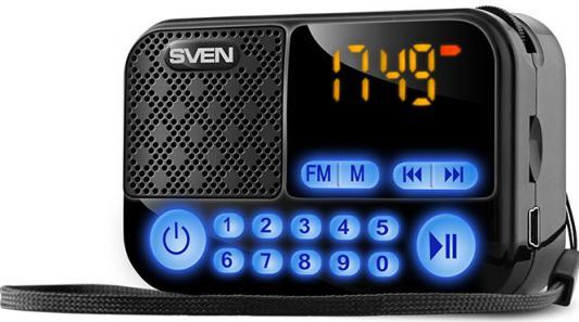 SVEN PS -25, черный (3 Вт, FM-тюнер, USB, microSD, LED-дисплей, 1200мА*ч) sven easy see 122 dd тв тюнер