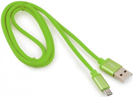 Кабель microUSB 1м Gembird CC-S-mUSB01Gn-1M круглый зеленый аксессуар gembird cablexpert usb am microbm 1m green cc g musb01gn 1m