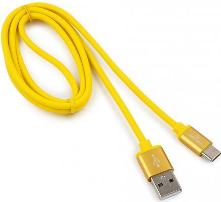 Кабель Type-C 1м Gembird CC-S-USBC01Y-1M круглый жёлтый кабель lightning 1м wiiix круглый cb120 u8 10b
