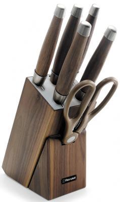 """984-RD Набор из 5 ножей c ножницами на деревянной подставке Glaymore Rondell набор ножей """"европа"""" 7 предметов в деревянной подставке со штопором"""