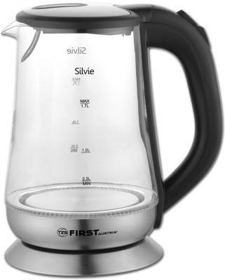 Чайник электрический First 5405-4 2200 Вт чёрный 1.7 л стекло чайник электрический first 5405 5 2200 вт серебристый чёрный 1 5 л стекло