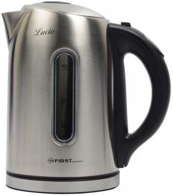 Чайник электрический First 5411-0 2200 Вт серебристый чёрный 1.7 л нержавеющая сталь чайник электрический ладомир 102 2000 вт серебристый 1 2 л нержавеющая сталь