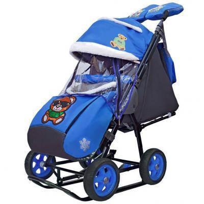 Купить Коляска-санки Snow Galaxy City-1 Зелёный Мишка на синем на больших колёсах Ева+сумка+варежки до 25 кг синий металл ткань, металл, ткань, Санимобиль