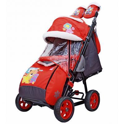 Купить Санки-коляска SNOW GALAXY City-1 Мишка со звездой на красном на больших колёсах Ева+сумка+варежки, красный, металл, ткань, Санимобиль