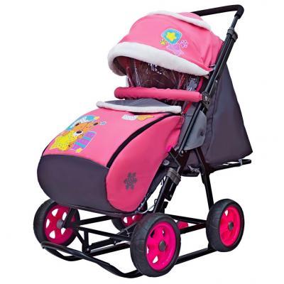 Купить Санки-коляска SNOW GALAXY City-1 Мишка со звездой на розовом на больших колёсах Ева+сумка+варежки, розовый, металл, ткань, Санимобиль