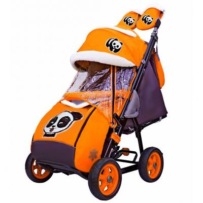 Купить Коляска-санки Snow Galaxy City-1 Панда на оранжевом на больших колёсах Ева+сумка+варежки до 25 кг оранжевый металл ткань, металл, ткань, Санимобиль