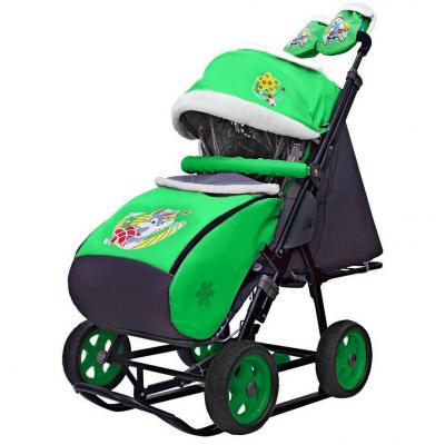 Коляска-санки Snow Galaxy City-1 Серый Зайка на зелёном на больших колёсах Ева+сумка+варежки до 25 кг зеленый металл ткань