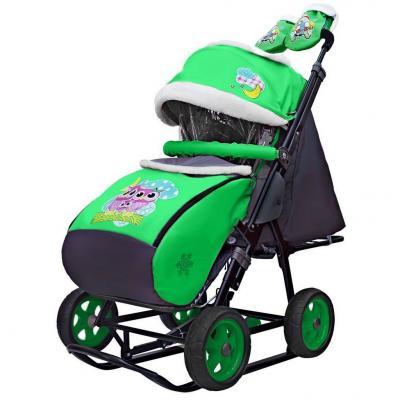 Коляска-санки Snow Galaxy City-1 Совушки на зелёном на больших колёсах Ева+сумка+варежки до 25 кг зеленый металл ткань цена