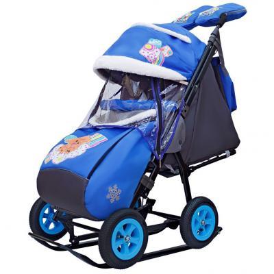 Купить Санки-коляска SNOW GALAXY City-1-1 2 Медведя на облаке на синем на больших надувных колёсах+сумка+ва, синий, металл, ткань, Санимобиль