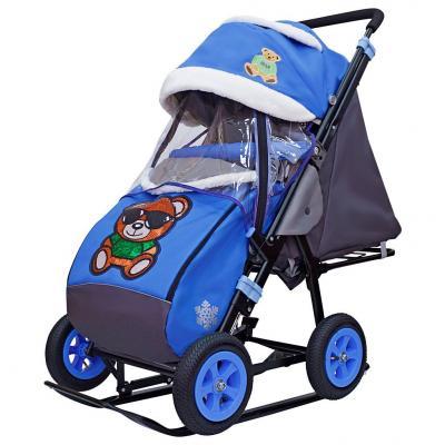 Купить Санки-коляска SNOW GALAXY City-1-1 Зелёный Мишка на синем на больших надувных колёсах+сумка+варежки, синий, металл, ткань, Санимобиль