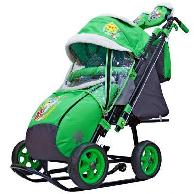 Купить Санки-коляска SNOW GALAXY City-2 Серый Зайка на зелёном на больших колёсах Ева+сумка+варежки, зеленый, металл, ткань, Санимобиль