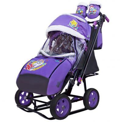 Купить Санки-коляска SNOW GALAXY City-2 Серый Зайка на фиолетовом на больших колёсах Ева+сумка+варежки, фиолетовый, металл, ткань, Санимобиль