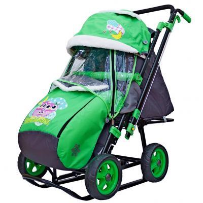 Купить Санки-коляска SNOW GALAXY City-2 Совушки на зелёном на больших колёсах Ева+сумка+варежки, зеленый, металл, ткань, Санимобиль