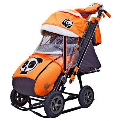 Купить Санки-коляска SNOW GALAXY City-2-1 Панда на оранжевом на больших надувных колёсах+сумка+варежки, оранжевый, металл, ткань, Санимобиль