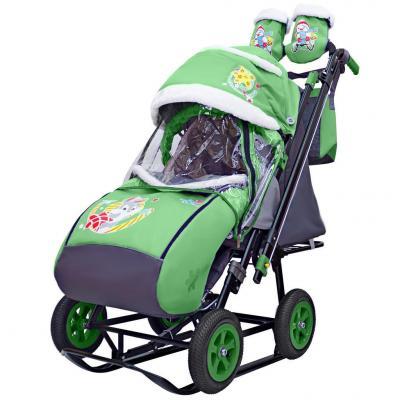 Купить Санки-коляска SNOW GALAXY City-2-1 Серый Зайка на зелёном на больших надувных колёсах+сумка+варежки, зеленый, металл, ткань, Санимобиль