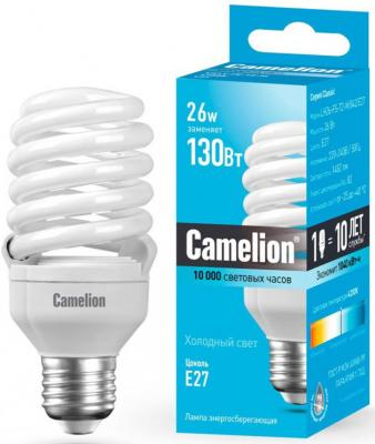 Лампа энергосберегающая спираль Camelion LH26-FS-T2-M/842/E27 E27 26W 4200K 10588 энергосберегающая лампа 11вт camelion lh11 fs t2 m 842 e27 10583