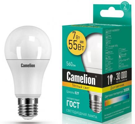 Лампа светодиодная груша Camelion LED7-A60/830/E27 E27 7W 3000K 11253 лампочка camelion c35 7w 220v e27 3000k 530 lm led7 c35 830 e27