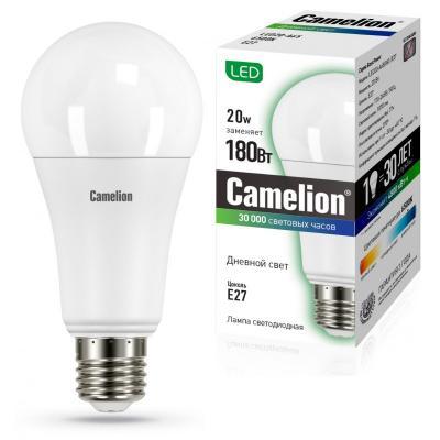 лампа светодиодная e27 10w 6500k груша матовая 4690389085550 Лампа светодиодная груша Camelion 13166 E27 20W 6500K