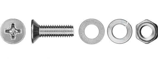 Винт ЗУБР 303456-06-050 (DIN965) в комплекте с гайкой, шайбой, шайбой пруж., M6 x 50 мм, 7 шт