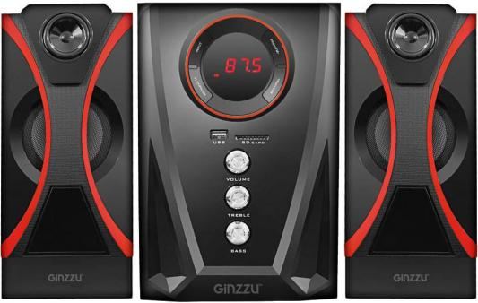 Фото - Ginzzu GM-407 2.1 с Bluetooth, выходная мощность 20Вт + 2х10Вт, аудиоплеер USB-flash, SD-card, FM-радио, пульт ДУ - 21 кнопка, стерео вход (2RCA), эквалайзер (обыч белый стерео fm радио над ухом наушники для mp3 плеер sd card аудио провод