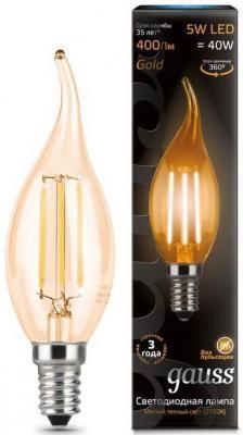 Лампа светодиодная свеча на ветру Gauss 104801005 E14 5W 2700K gauss лампа светодиодная gauss свеча на ветру прозрачная e14 5w 2700k 104801005