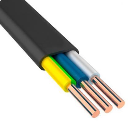 Кабель силовой ВВГ-Пнг (А) Калужский кабельный завод 3x6 мм плоский 100м черный (N, PE) ГОСТ