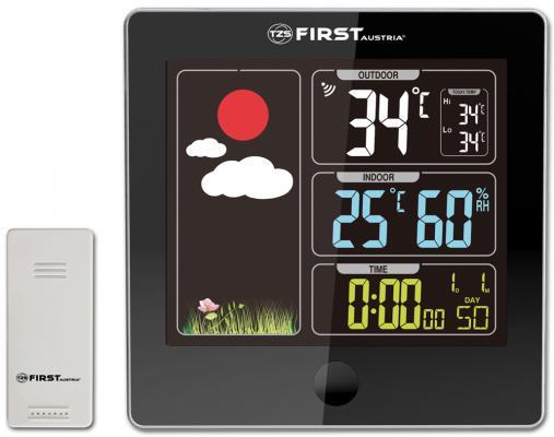 2460-5-BA Метеостанция FIRST, цветной LED-диспл., беспроводной датчик, измерение уличной/комнатной т метеостанция first 2460 часы будильник серебр