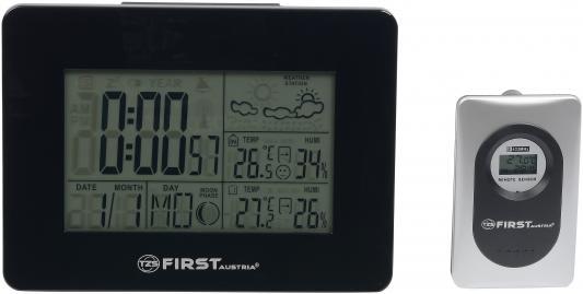 2461-BA Метеостанция FIRST, часы, будильник, комнатная/уличная  темп., влажн.беспровод.датчик Black