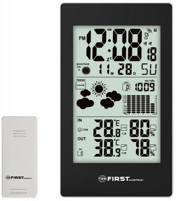 2460-4-BA Метеостанция FIRST, беспроводной датчик, комнатная и уличная темп., влажность, давление. коптильня firewood 50х30х40см подставка датчик темп