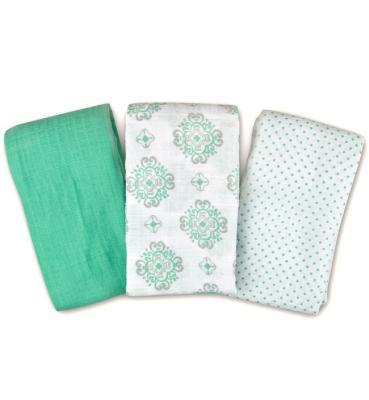 Купить Набор пеленок Muslin Swaddleme®, (3 шт.), бирюзовый/орнамент, Summer Infant, 102 х 102 см, Простыни