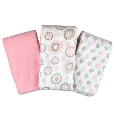 Купить Набор пеленок Muslin Swaddleme®, (3 шт.), розовый/орнамент, Summer Infant, 102 х 102 см, Простыни
