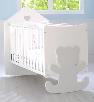 Детская кроватка с реечными бортиками Casetta белый/серый