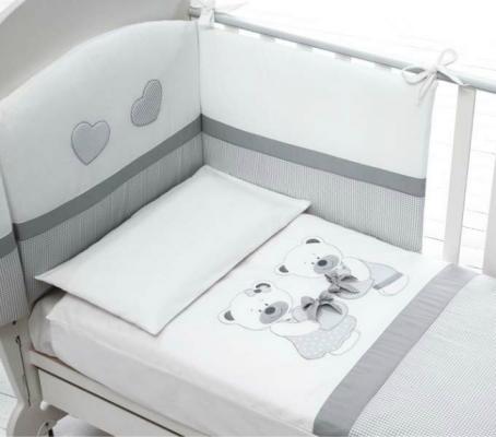 Купить Комплект белья Bon Bon из 4х предметов белый/серый, Baby Expert, 100 х 130 см, Постельные сеты