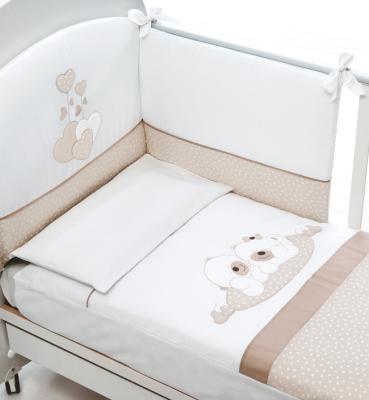 Купить Комплект белья из 4-х предметов Sogno, белый/серо-бежевый, Baby Expert, 100 х 130 см, Постельные сеты