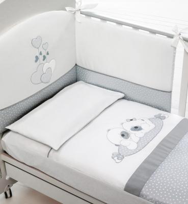 Купить Комплект белья из 4-х предметов Sogno, белый/серый, Baby Expert, 100 х 130 см, Постельные сеты