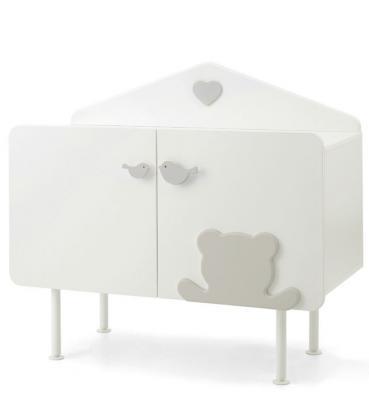 Комод Casetta белый/серый детская кроватка с реечными бортиками casetta белый серый