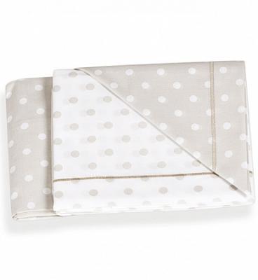 Комплект белья из 3-х предметов (наволочка, 2 простыни) для люльки, крем/ горошек комплект белья из 5 и предметов italbaby polvere di stelle