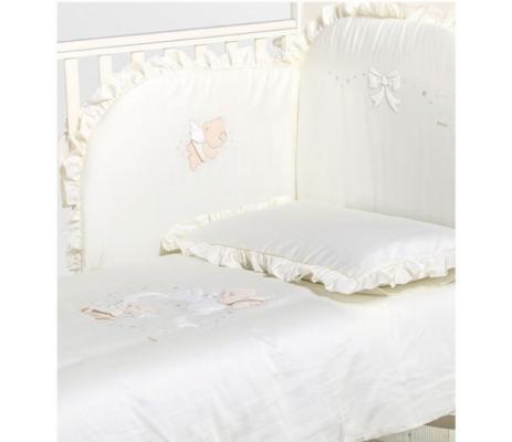 Комплект белья из 3-х предметов Sweet Angels (наволочка, простыня, покрывало) для кровати, белый комплект белья из 5 и предметов italbaby polvere di stelle