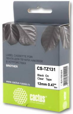Картинка для Картридж ленточный Cactus CS-TZ131 черный для Brother 1010/1280/1830VP/7600VP