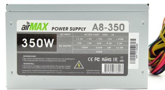 AirMax A8-350W Блок питания 350W ATX (24+4+6пин, 80mm (SCP)//(OVP)//(OCP)//(UVP)//ATX 12V v.2.3)