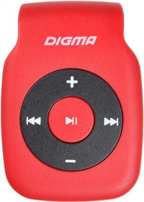 Плеер Digma P2 красный/черный/microSD/clip плеер digma r2 8gb черный