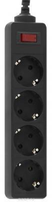 Сетевой фильтр CBR CSF 2450-5.0 Black PC, длина кабеля 5 м, 4 розетки, чёрный цвет, полиэт. пакет, CSF 2450-5.0 Black PC цена